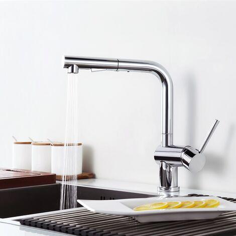 Hochdruckarmatur Ausziehbar Küchenarmatur Wasserhahn Armatur Küche mit Brause Mischbatterie Spültischarmatur Einhandhebelmischer Wasserkran für Küche