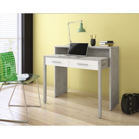 Hochfunktioneller ausziehbarer Schreibtisch Bovio Beton / Wei§ mit 2 Schubladen