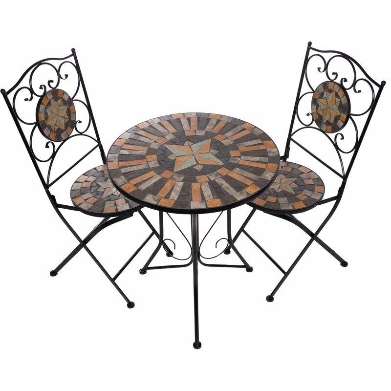 Birendy - Hochwertiges Mosaik Tisch Set NA1514B04142 Gartenmöbel Balkonset Bistroset