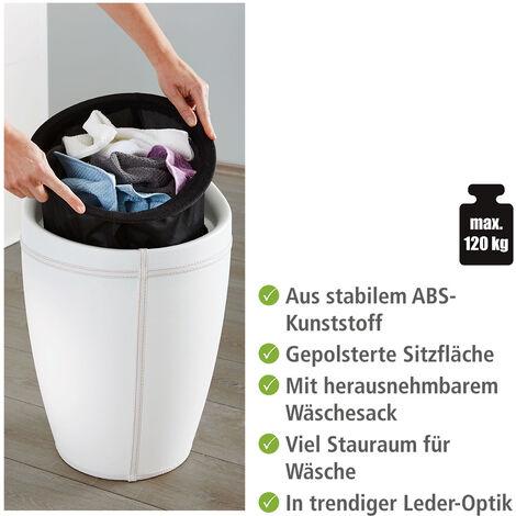 Hocker Candy White in Lederoptik Aufbewahrung Hocker Bad Badezimmer  Badmöbel WENKO