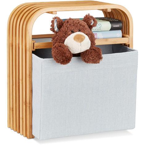 Hocker mit Aufbewahrung, Design Sitzhocker mit Stauraum, schmaler Bambus Holzhocker für die Garderobe, natur