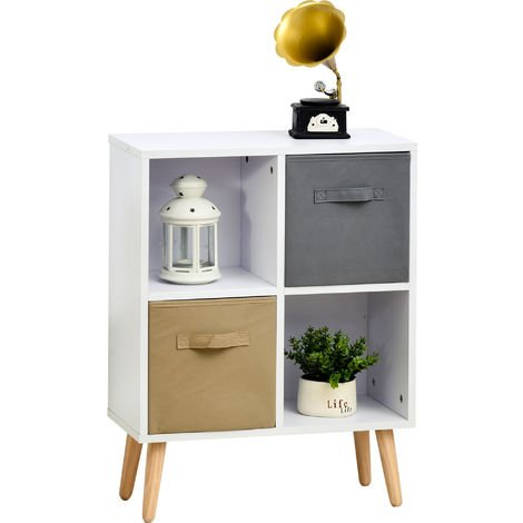 HOCOM 70x56cm Freestanding 4 Cube Storage Cabinet Unit w/ 2 Drawers
