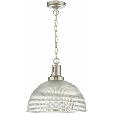 Hodges Satin Nickel and Textured Glass Pendant 1-Light