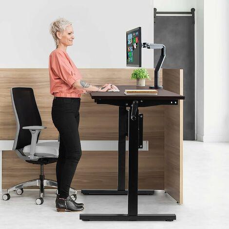 """main image of """"Hoehenverstellbarer Schreibtisch, Ergonomischer Sitz-Stehtisch mit verstellbaren Füssen,Ergonomisches Arbeiten im Sitzen und im Stehen, Tisch mit Handkurbel fürZuhause/Büro, Schwarz"""""""