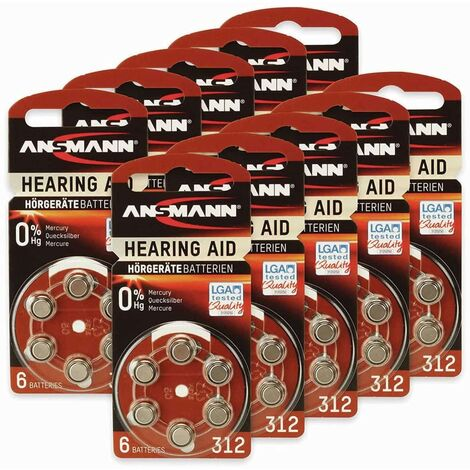 Hörgeräte-Batterie, ANSMANN, HEARING AID, PR41, Größe 312, 60 Stück