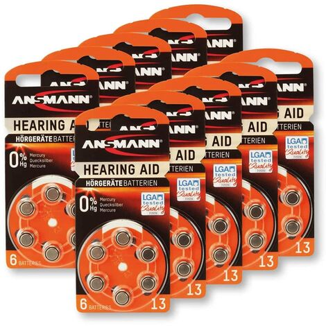Hörgeräte-Batterie, ANSMANN, HEARING AID, PR48, Größe 13, 60 Stück