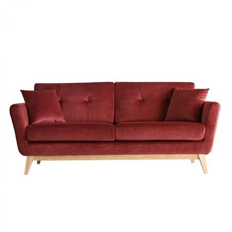 Hoga Velours Rouge : Canapé scandinave 3 places rouge + 2 coussins