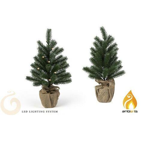 Hogar y Más - Árbol de Navidad Mini simpático con luces Led y base cubierta en tela arpillera Happy Christmas