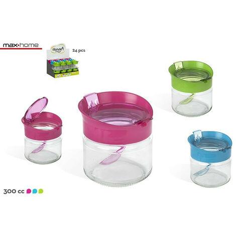 Hogar y Más - Azucarero moderno de cristal con cuchara en 3 colores Fashion Sugar Rosa
