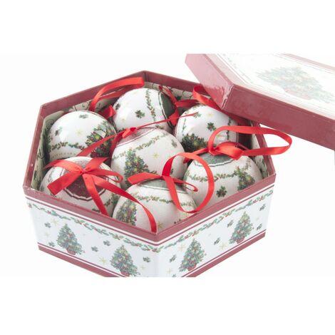 Hogar y Más - Bola de Navidad con lazo juego de 7 con original caja de regalo