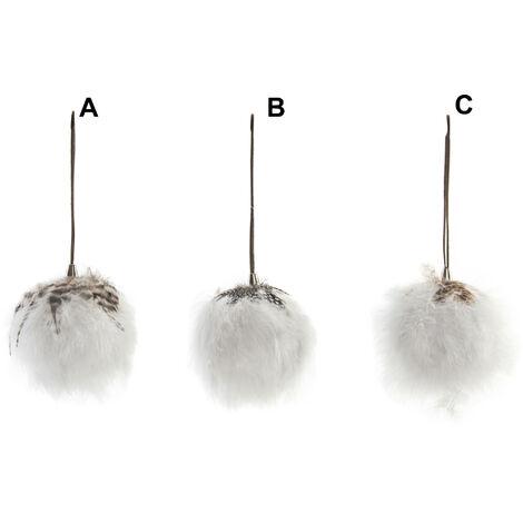 Hogar y Más - Bola decorativa original de tacto suave para colgar cubierta con pelo y plumas Cotton World B