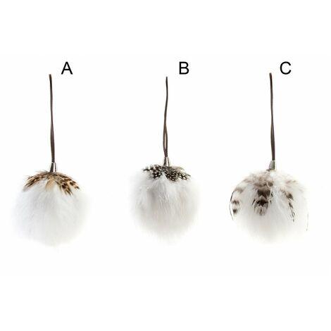 Hogar y Más - Bola decorativa original de tacto suave para colgar cubierta con pelo y plumas Cotton World C