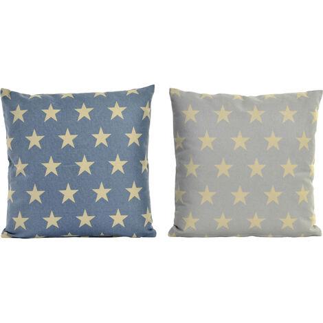 Hogar y más - Cojín de Algodón Modelos estrellas. 2 colores Azul