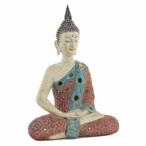 Hogar y más - Figurade Buda Feng Shui meditando de polirresina envejecido. Diseño Wabi Sabi.