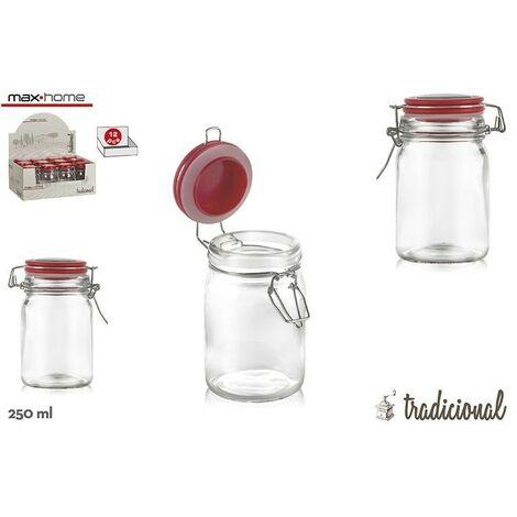 Hogar y Más - Tarro hermético de cristal para almacenaje práctico con tapa roja Set de 3 Sweet Home