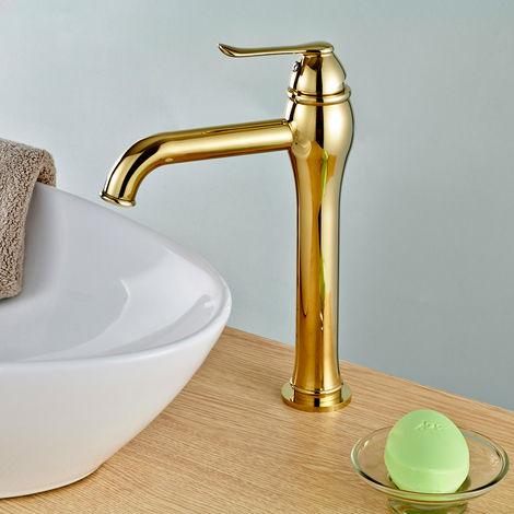 Hohe Einhebel Bad Badezimmer Armatur Waschbecken Waschtisch Gold Sanlingo NALA