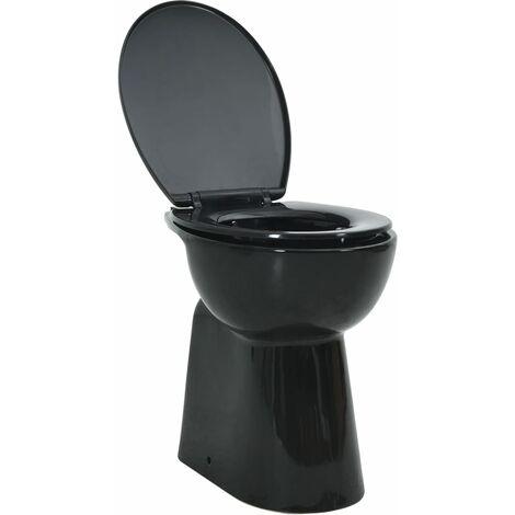 Hohe Spülrandlose Toilette Soft-Close 7cm Höher Keramik Schwarz