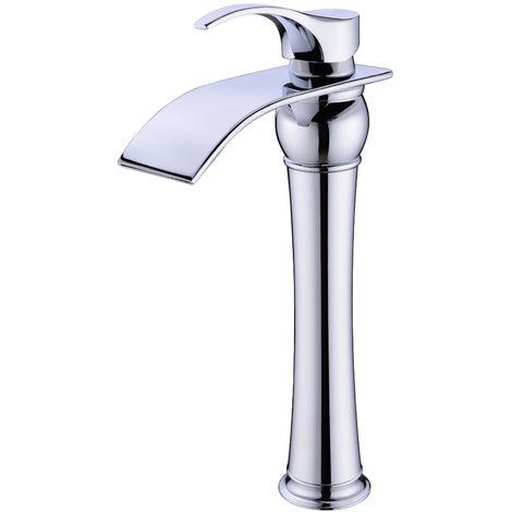 Hoher Auslauf Einhebel-Waschtischarmaturen Wasserfall Wasserhahn Armatur Bad für Badezimmer Waschbecken, 59 Kupfer, Chrom