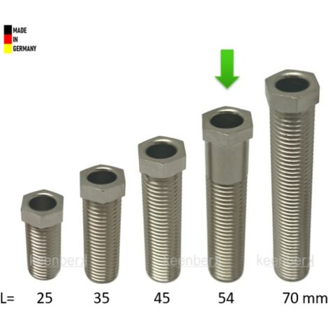 Hohl-Schraube, Länge 54 mm für Siebkorbventile M12 x 1,5 mm - universell passend für 1,5 und 3,5 Zoll