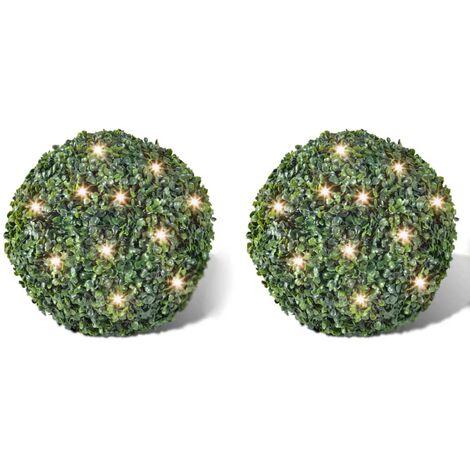 Hoja Artificial Bola de poda 27 cm Con cuerda de LED solar 2 piezas