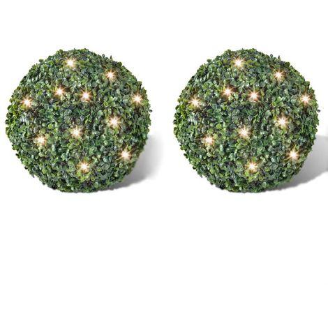 Hoja Artificial Bola de poda 35 cm Con cuerda de LED solar 2 piezas