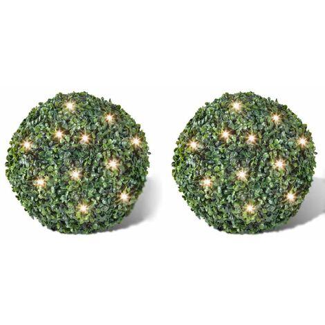 Hoja Artificial Bola de poda 35 cm Con cuerda de LED solar 2 piezas HAXD14771