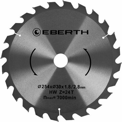 Hoja de sierra circular de carburo para xilografías (254 x 1,8 x 16 mm, 24 Dientes, larga vida) Disco de corte