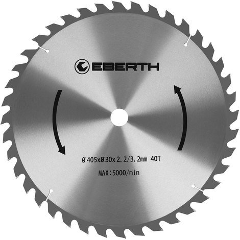 Hoja de sierra circular de carburo para xilografías (405 x 3,2 x 30 mm, 40 Dientes, larga vida) Disco de corte