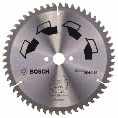 Hoja de sierra circular SPECIAL D 190 mm taladro 20 mm T 54 BOSCH 2609256891
