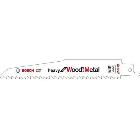 Hoja de sierra sable para madera con metal, corte curva recta vaga, ref. Bosch : S 610 VF, calidad de Hoja de sierra BiM, Largo total 150 mm