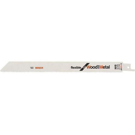 Hoja de sierra sable para madera con metal, corte recta fina, ref. Bosch : S 1122 VF, calidad de Hoja de sierra BiM, Largo total 225 mm