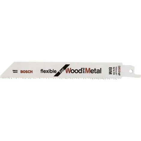 Hoja de sierra sable para madera con metal, corte recta fina, ref. Bosch : S 922 VF, calidad de Hoja de sierra BiM, Largo total 150 mm