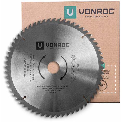 Hoja de sierra universal VONROC 216mm - 40 dientes - para madera - adecuada para ingletadoras y sierras de mesa.