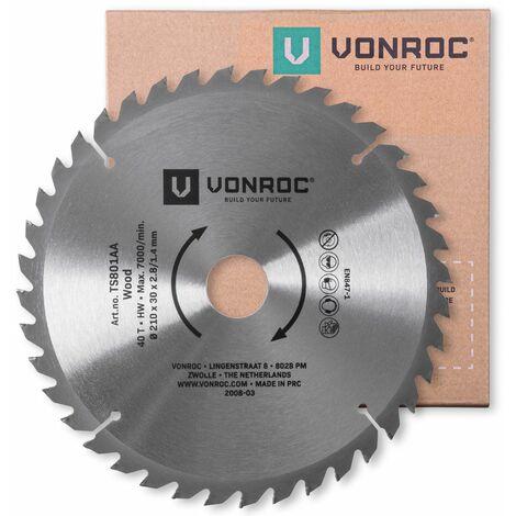 """main image of """"Hoja de sierra VONROC - 210 x 30mm - 40 dientes - para madera - Apta para sierras de mesa y ingletadoras"""""""