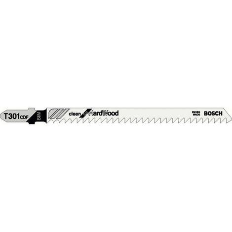 Hoja sierra caladora para madera dura, corte recta fina, ref. Bosch : T 301 CDF, calidad de Hoja de sierra BiM, Largo total 117 mm, Paso de dientes : 3 mm