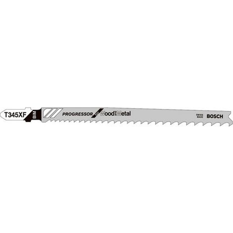 Hoja sierra caladora para madera/metal, corte recta vaga, ref. Bosch : T 345 XF, calidad de Hoja de sierra BiM, Largo total 132 mm