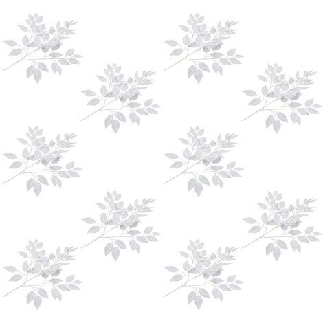 Hojas artificiales de ficus 10 unidades blanco 65 cm