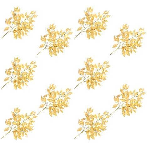 Hojas artificiales de ficus 10 unidades dorado 65 cm