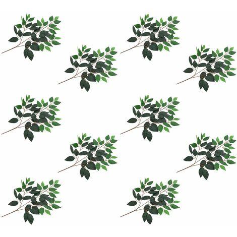 Hojas artificiales de ficus 10 unidades verde 65 cm