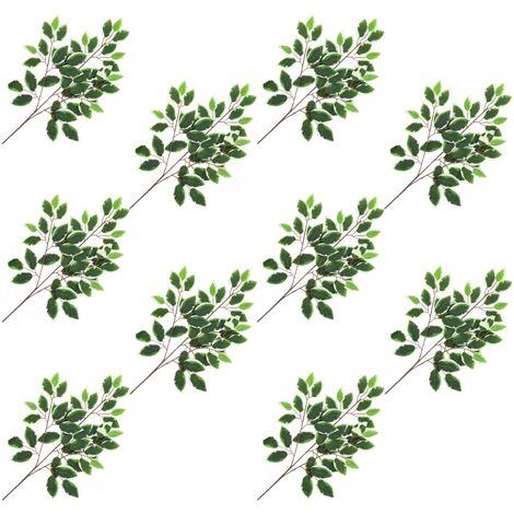 Hojas artificiales de ficus 10 unidades verde y blanco 65 cm