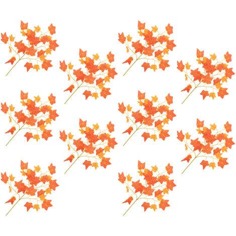 Hojas artificiales de hiedra 10 unidades rojo 70 cm