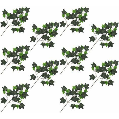 Hojas artificiales de hiedra 10 unidades verde 70 cm