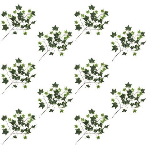 Hojas artificiales de hiedra 10 unidades verde y blanco 70 cm