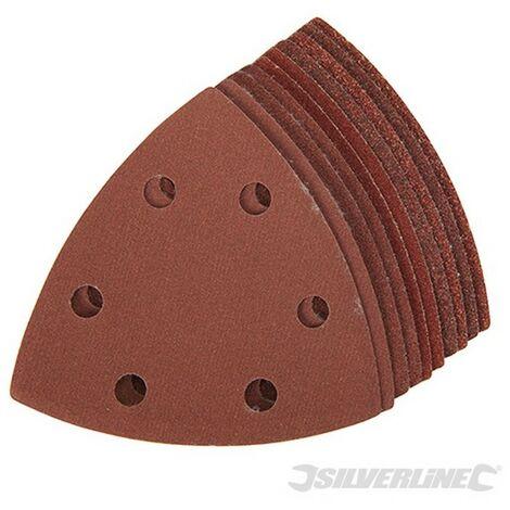 Hojas de lija triangulares autoadherentes 90 mm. 10 pzas (Granos: 4 x 60. 2 x 80. 120. 240)