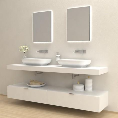 Hola mobile completo arredo bagno bianco frassinato for Arredo ufficio bianco