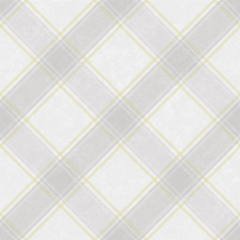 Image of Check Tartan Wallpaper Checked Plaid Chequered Grey Yellow Holden Decor Aidan