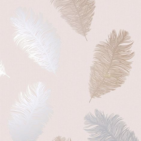 Holden Decor Astonia Feather Blush Pink Wallpaper