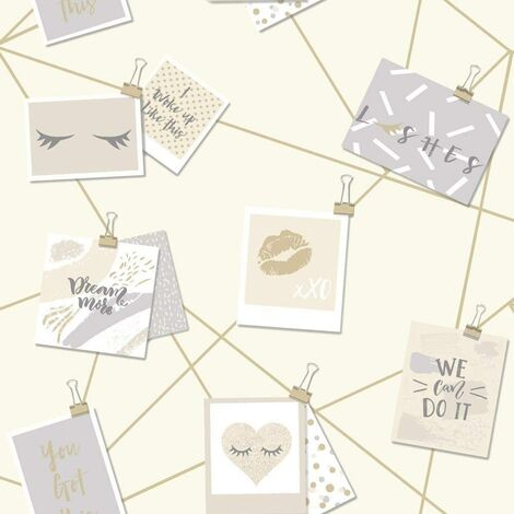Holden Decor Dream Lashes Beige Gold Wallpaper 12772 - Girls Typography Notes