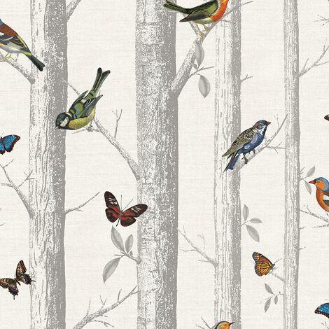 Holden Decor Epping Trees Forest Birds Butterflies Wallpaper-White / Multi-12231