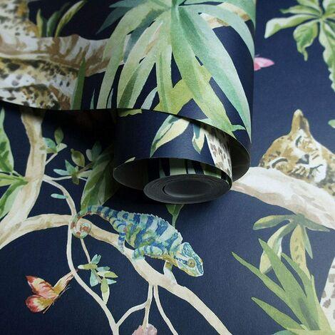 Holden Decor Fantasia Jungle Animals Navy Wallpaper 90690 - Orangutan Leaf